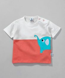 Cuddledoo Half Sleeves  Baby Elephant Patch T-Shirt - White Coral