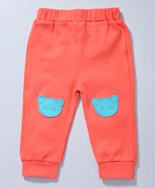 Cuddledoo Full Length Pajama With Teddy Patch - Coral Turquoise
