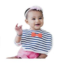 Cuddledoo Stripes Coral Bow Bib - White Blue