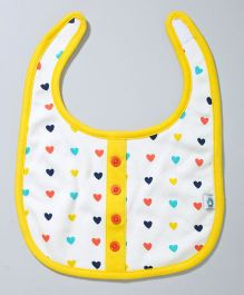 Cuddledoo All Over Heart Print Bib - Multicolor