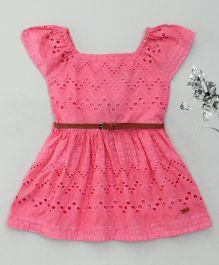 Vitamins Short Sleeves Frock Hakoba Pattern - Pink