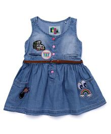Vitamins Sleeveless Frock With Belt - Blue