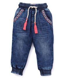 Vitamins Jeans With Drawstring - Dark Blue