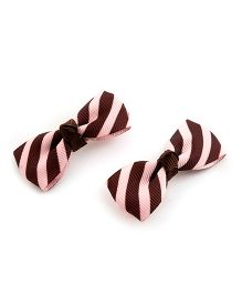 Ribbon Candy Striped Print Alligator Clip - Brown & Light Pink