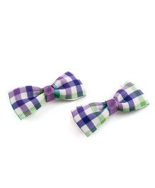 Ribbon Candy Elegant Alligator Clips - Purple & White