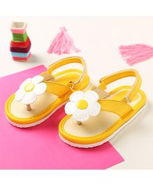 LCL By Walkinlifestyle Floral Applique Slip On Velcro Closure - Yellow