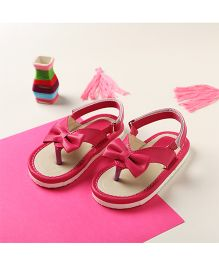 LCL By Walkinlifestyle Bow Applique Slip On Velcro Closure - Pink