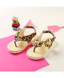 LCL By Walkinlifestyle Slip On Sandals Velcro Closure Animal Print - Beige