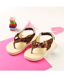 LCL By Walkinlifestyle Slip On Sandals Velcro Closure Animal Print - Tan