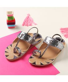 LCL By Walkinlifestyle Metalic Kolapuri Sandals - Silver