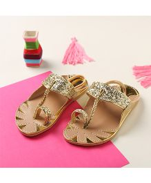 LCL By Walkinlifestyle Metalic Kolapuri Sandals - Gold