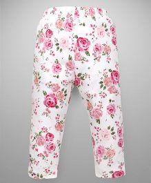 Babyhug Pajama Allover Floral Print - Pink & White