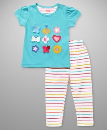 Babyhug Short Sleeves Appliqued Top And Pajama Set - Aqua & Multi Color