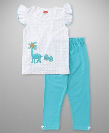 Babyhug Flutter Sleeves Dotted Top With Patch And Pajama Night Suit - Aqua & White