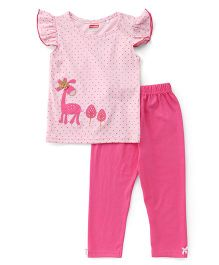 Babyhug Flutter Sleeves Dotted Top With Patch And Pajama Night Suit - Pink