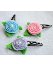 Pretty Ponytails Rose Flower With Pearl Leaf - Light Pink Blue & Grey