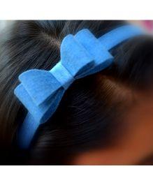 Pretty Ponytails Double Bow Denim Headband - Blue