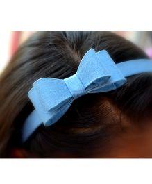 Pretty Ponytails Double Bow Denim Headband - Light Blue