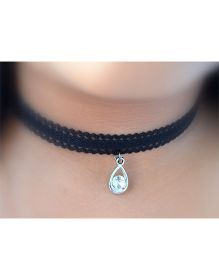Pretty Ponytails Solitaire Choker Necklace - Black & Silver