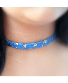 Pretty Ponytails Denim Star Choker Necklace - Blue & Gold