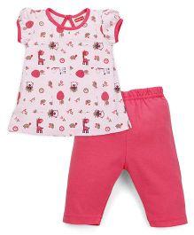 Babyhug Puff Sleeves Printed Top And Capri Set - Pink