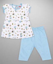 Babyhug Puff Sleeves Printed Top And Capri Set - Aqua Blue