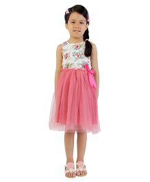 My Lil Berry Sleeveless Floral Tulle Dress - Pink