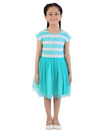 My Lil Berry Short Sleeves Candy Stripe Jersey And Tulle Dress - Sea Green