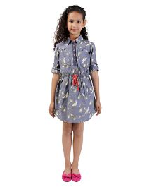 My Lil Berry Chambray Shirt Dress - Blue