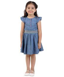 My Lil Berry Short Sleeves Denim Dress Smocking Detail - Blue