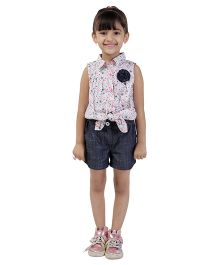 My LilBerry Sleeveless Floral Tie Top - Multicolor