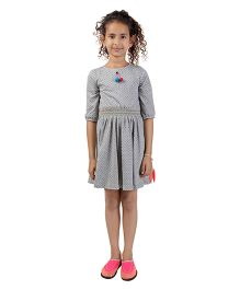 My Lil Berry Three Fourth Sleeves Smocked Dress - Grey