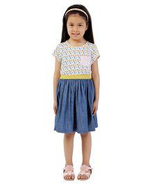 My Lil Berry Jersey Denim Skirt Dress - Blue & Pink