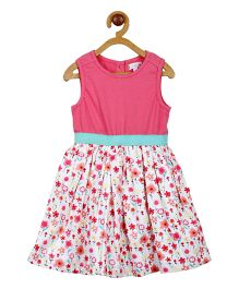 My Lil Berry Sleeveless Floral Aline Dress - Pink