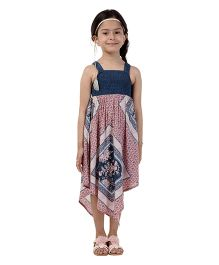 My Lil Berry Singlet Flowy Handkerchief Maxi Dress - Peach & Blue