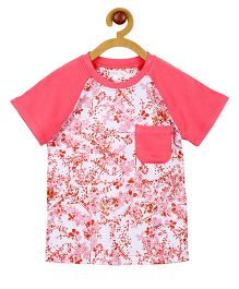 My Lil Berry Raglan Sleeve Floral Print T-Shirt - Coral & Pink