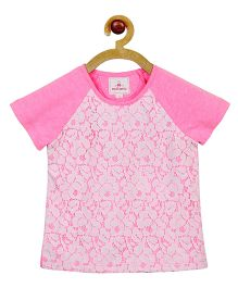My Lil Berry Raglan Sleeve Lace T-Shirt - Neon Pink