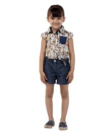 My Lil Berry Short Sleeves Floral Tie Top - Off White