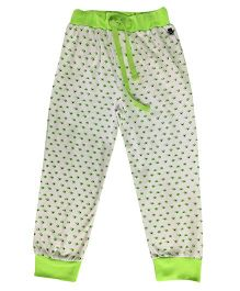 Kiddopanti Drawstring Track Pant Allover Print - White & Green