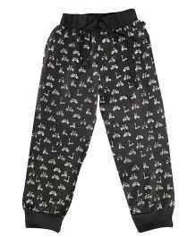 Kiddopanti Drawstring Track Pant Cycle Print - Charcoal Grey