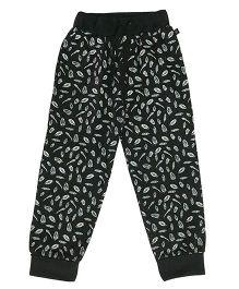 Kiddopanti Drawstring Track Pant Allover Feather Print - Black