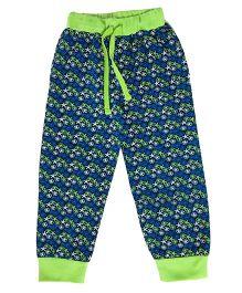 Kiddopanti Drawstring Track Pant Allover Print - Blue & Green