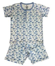 Kiddopanti Half Sleeves Night Suit Set Allover Fish Print - White & Blue