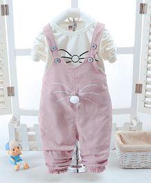Pre Order - Awabox Cat Print T-Shirt & Dungaree Set - Pink