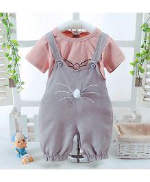 Pre Order - Awabox Cat Print T-Shirt & Dungaree Set - Grey