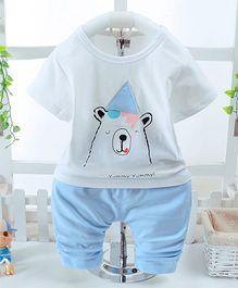 Pre Order - Awabox Bear Printed T-Shirt & Pant Set - Grey
