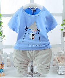 Pre Order - Awabox Bear Printed T-Shirt & Pant Set - Blue