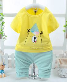 Pre Order - Awabox Bear Printed T-Shirt & Pant Set - Yellow