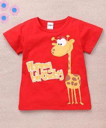 Superfie Giraffe Printed Summer Tee - Red