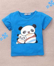 Superfie Cute Panda Printed Tee - Blue